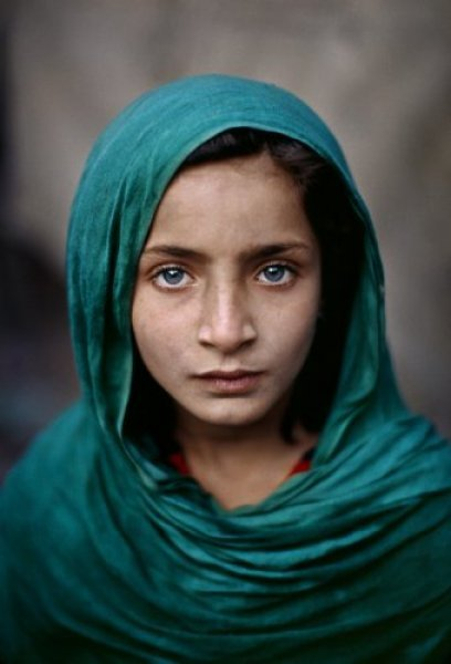 Afghan Girl with Green Shawl